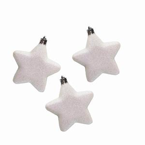 120 kerststerren 7,5 cm Wit Glitter Per omdoos