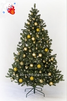 Art Chr Tree Allabama 210 with Gold baubles and prelighted