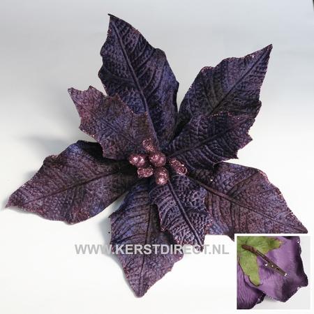 60 stuks per omdoos Kerstbloem Poinsettia Glitter -  Purple