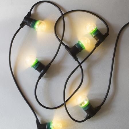 Feestverlichting 10m, 20 lampenbollen Crackelé . LED