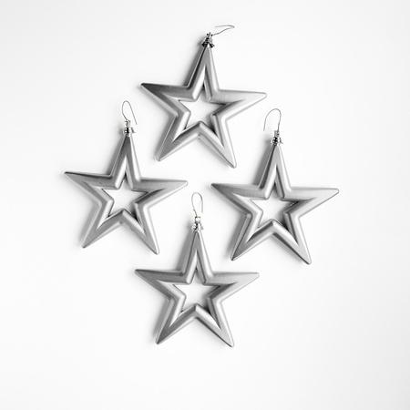 18 set a 4 st. Open Star - 14 cm Zilver