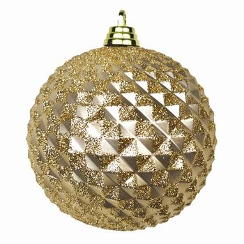 Diamant kerstballen roze goud. 8 cm Doos a 160 st