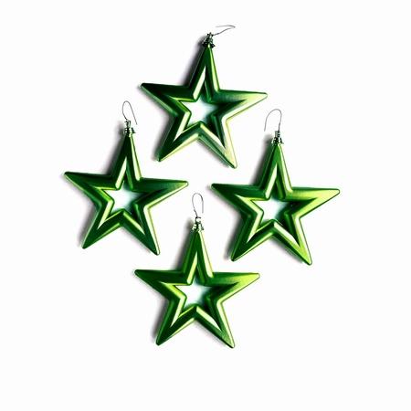 18 set a 4 st. Open Star - 14 cm Antiek Groen