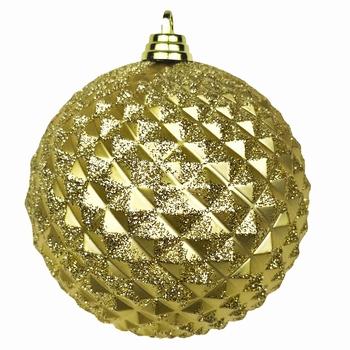 Diamant kerstballen Goud. 8 cm Doos a 160 st