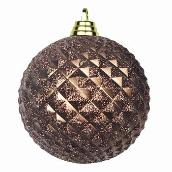 Diamant kerstballen Amber bruin. 8 cm Doos a 160 st