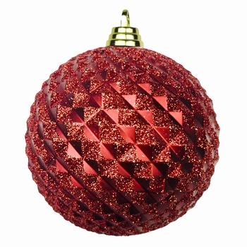 Diamant kerstballen Rood. 8 cm Doos a 160 st