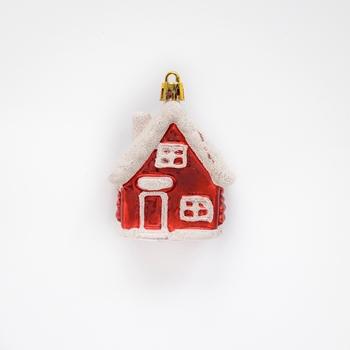 Kersthuisje 8 cm rood wit