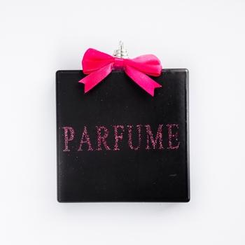 Parfume flesje zwart - goud glitter 9,5 cm