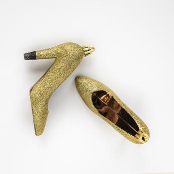Kerst pumps Amber goud glitter 12 cm