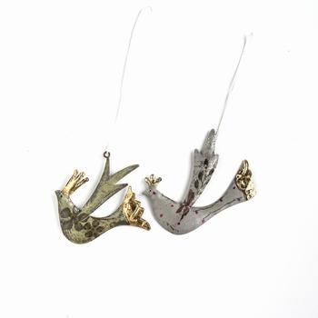 Koperen vogeltjes 2 assortie hand gedecoreerd