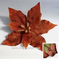 60 stuks per omdoos Kerstbloem Poinsettia Glitter - Copper Per omdoos