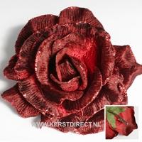12 stuks per omdoos Kerstbloem Rose Glitter - Copper