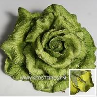 24 stuks per omdoos Kerstbloem Rose Glitter - Lime Per omdoos