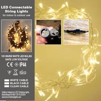 Stringlights LED 100 lamps 8 meter.Koppelbaar. IP 44