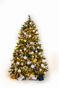 Decorated christmas tree 180 cm Silver per stuk
